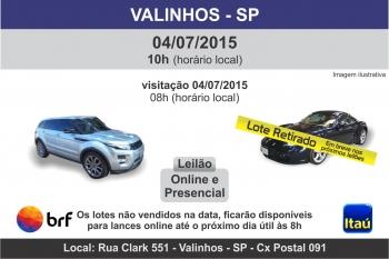 Leil�o de ve�culos em Valinhos - SP 04/07/2015