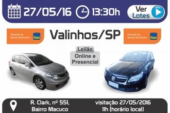 Leil�o de ve�culos em Valinhos - SP 27/05/2016