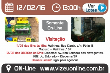 Leil�o de M�quinas e Materiais em Diadema - SP 12/02/2016