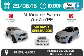 Leil�o de ve�culos em Vit�ria de Santo Ant�o - PE 29/06/2016