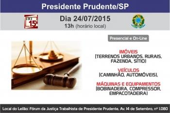 Hasta P�blica do N�cleo de Gest�o de Processos de Execu��o do Trabalho de Presidente Prudente