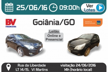 Leil�o de ve�culos em Goi�nia - GO 25/06/2016