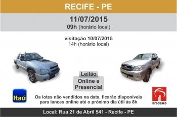 Leil�o de ve�culos em Recife - PE 11/07/2015