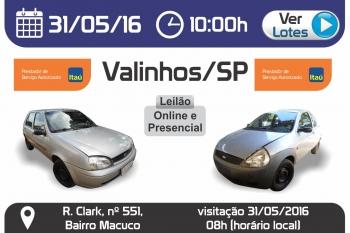Leil�o de ve�culos em Valinhos - SP 31/05/2016