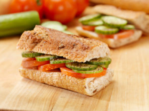 Tomato and Cucumber Sandwich on a Baguette -Photographed on Hasselblad H3D2-39mb Camera