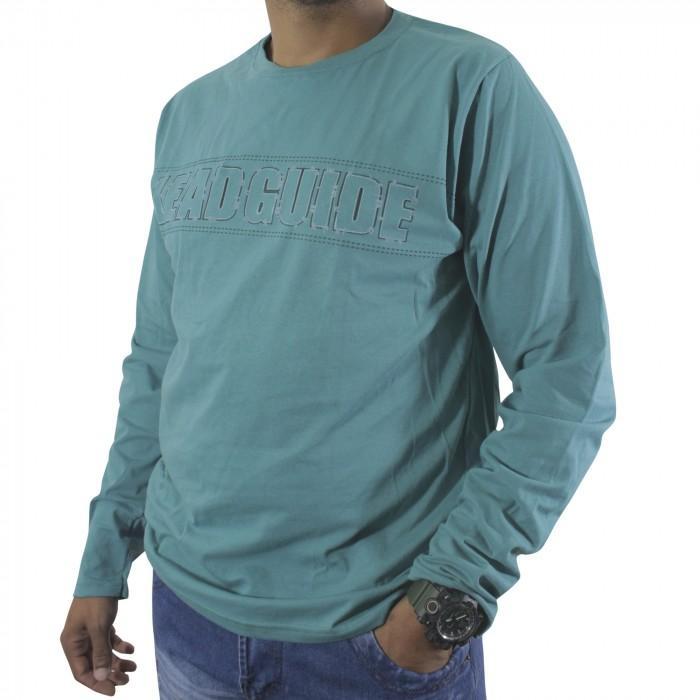 camiseta m/m manga longa p/gg / azul