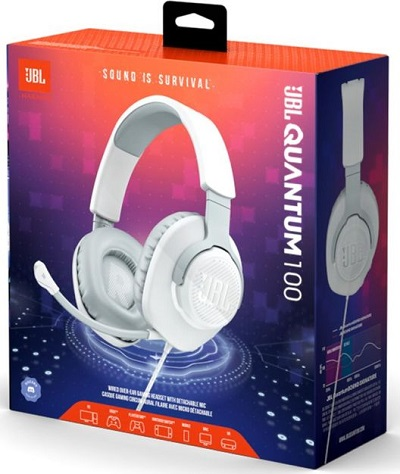 JBL Quantum 100 | Wired Gaming Headset White