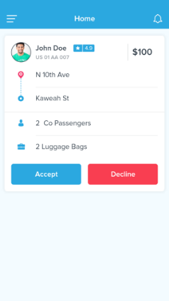 Accept or Reject Ride App