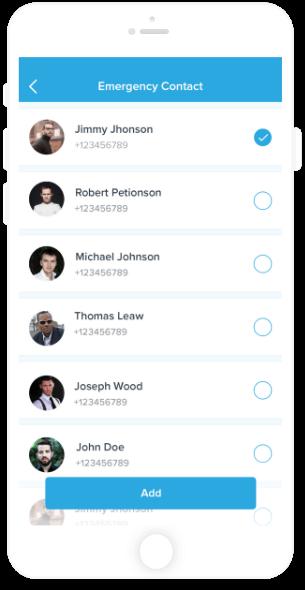 SOS Contact App Screen