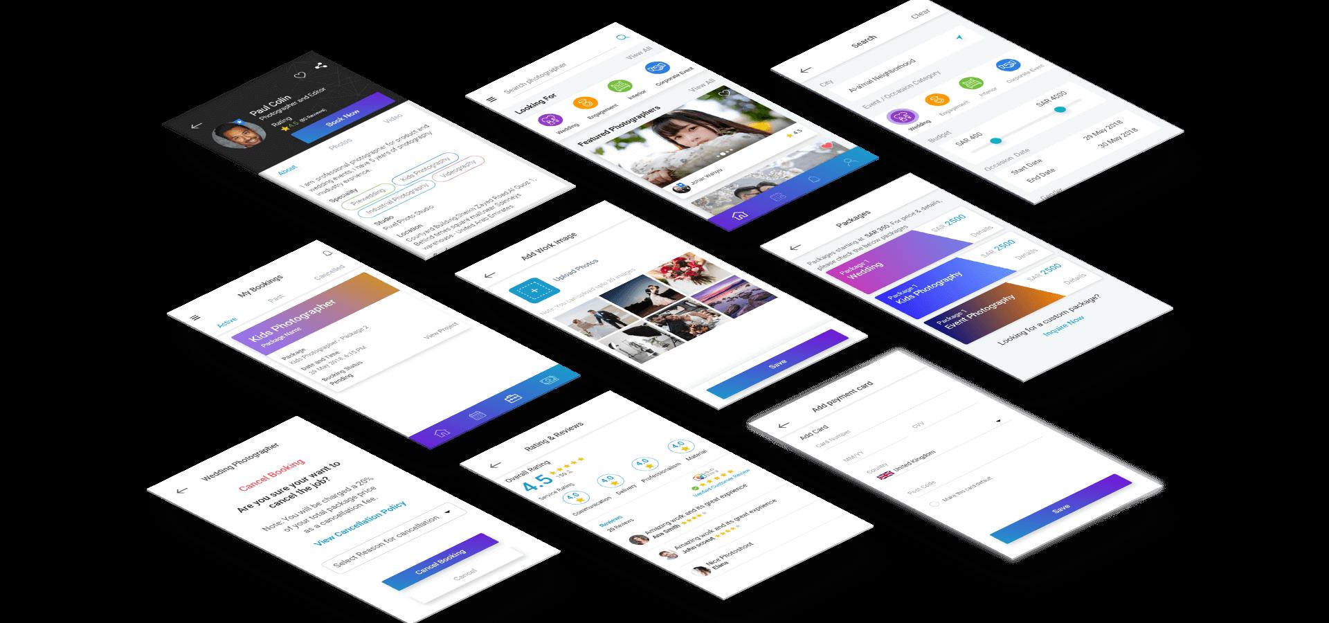 Photographer App Screens