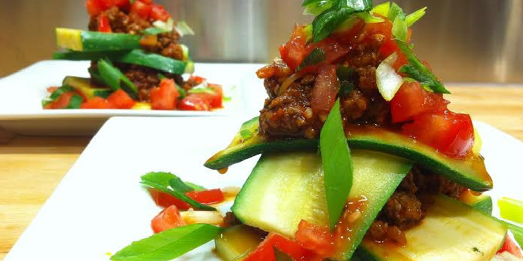 Sesame Beef Lasagna on a Zucchini Noodle