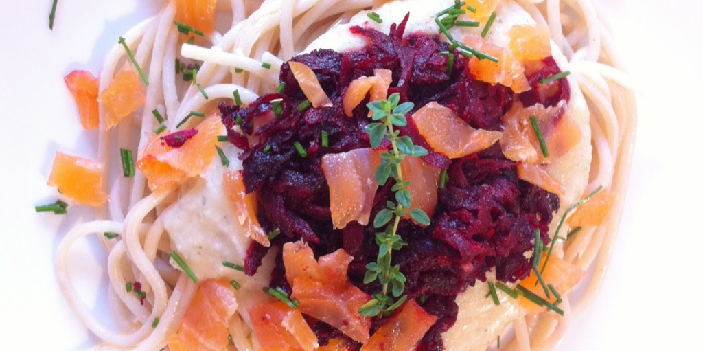 Creamy Salmon Spaghetti with Beets