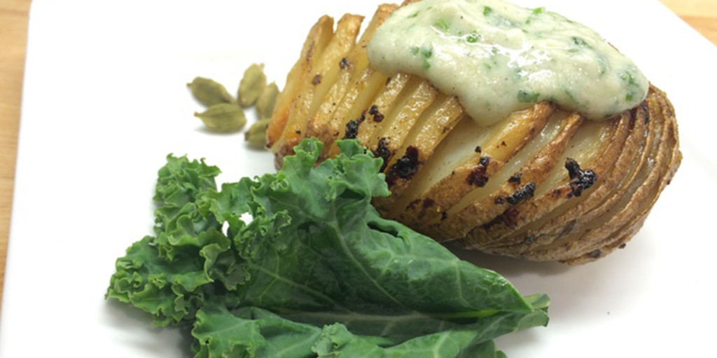 Hasselback Potatoes with Cardamom and Cilantro Sour Cream