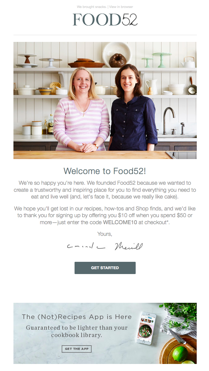 Food 52 as an example of a branded mailer
