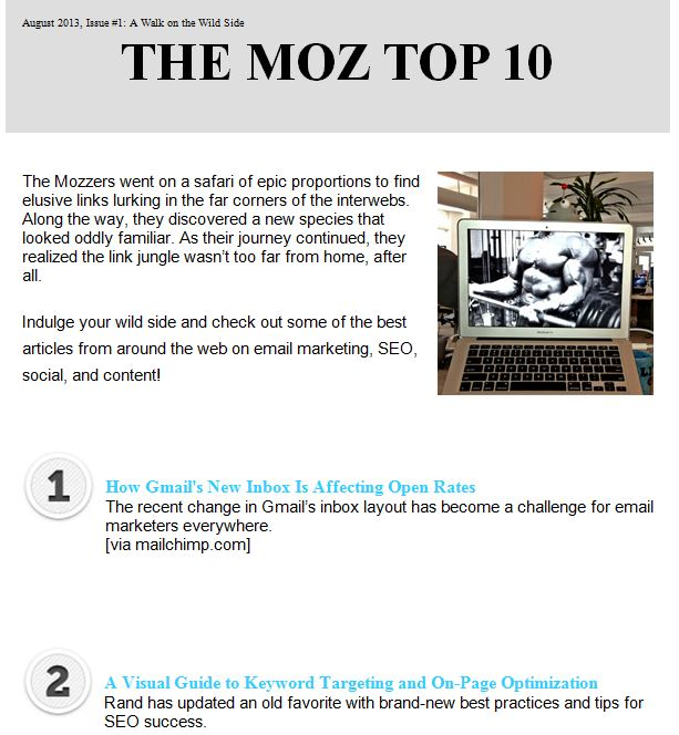 Moz Top Ten as an example of a branded mailer