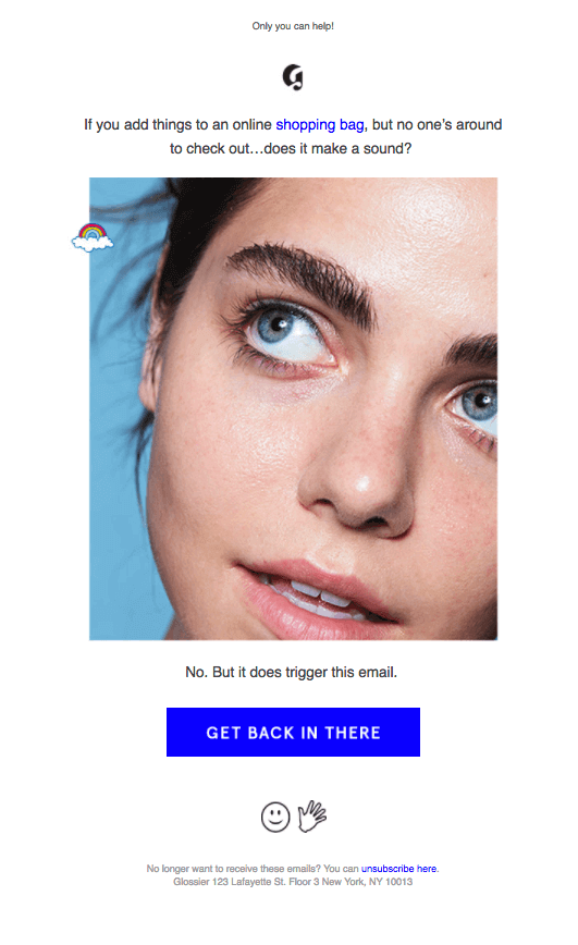 Glossier as an example of branded mailers