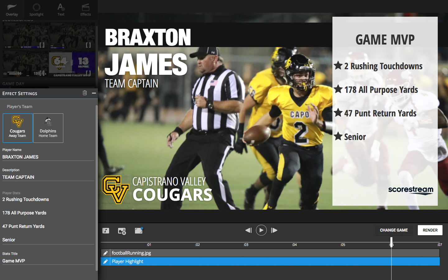 Editor w/ Football Player Stats