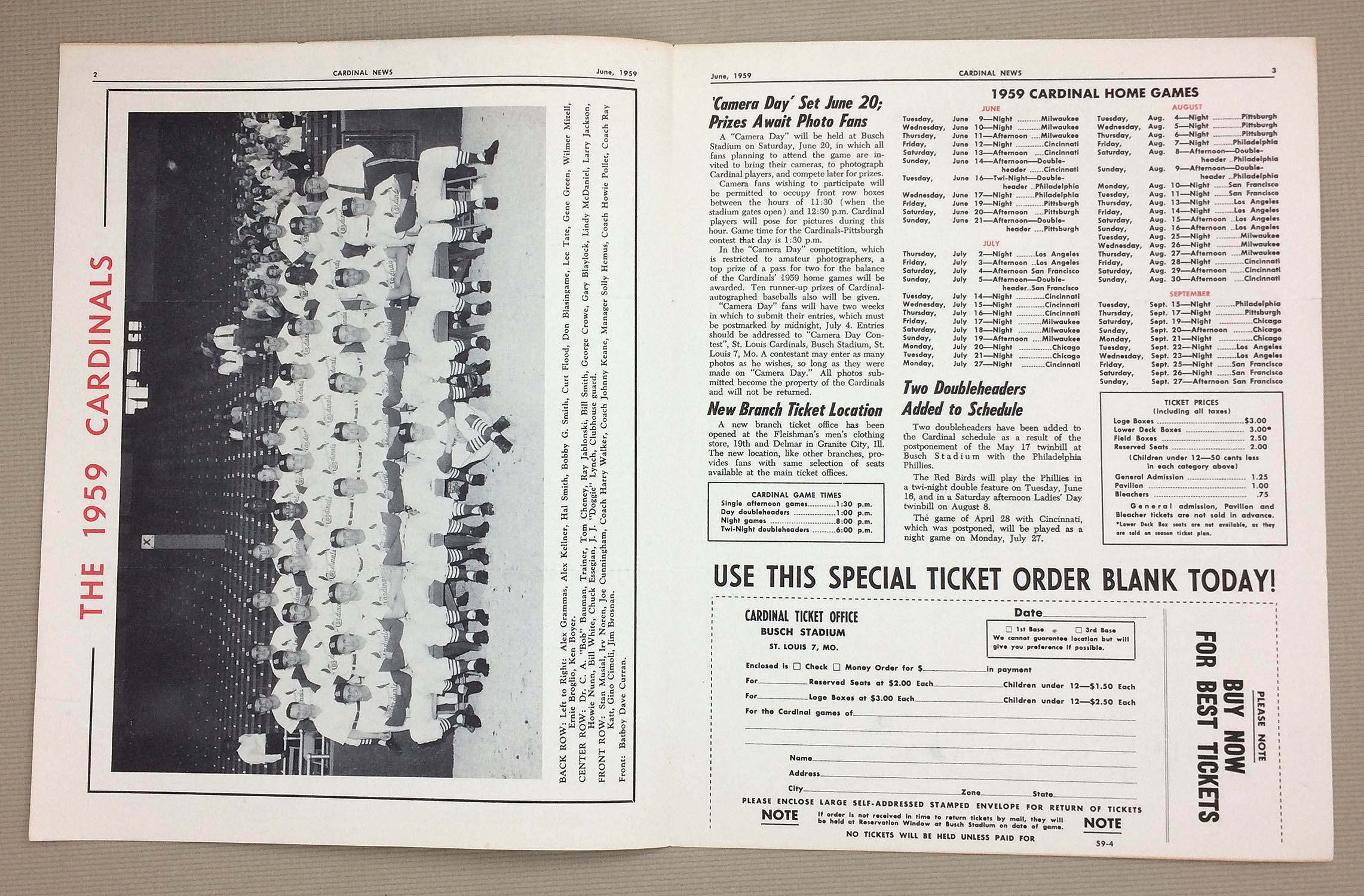 St Louis Cardinals Newsletters 1959