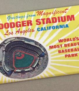 1960's Los Angeles Dodger Stadium Postcard Foldout