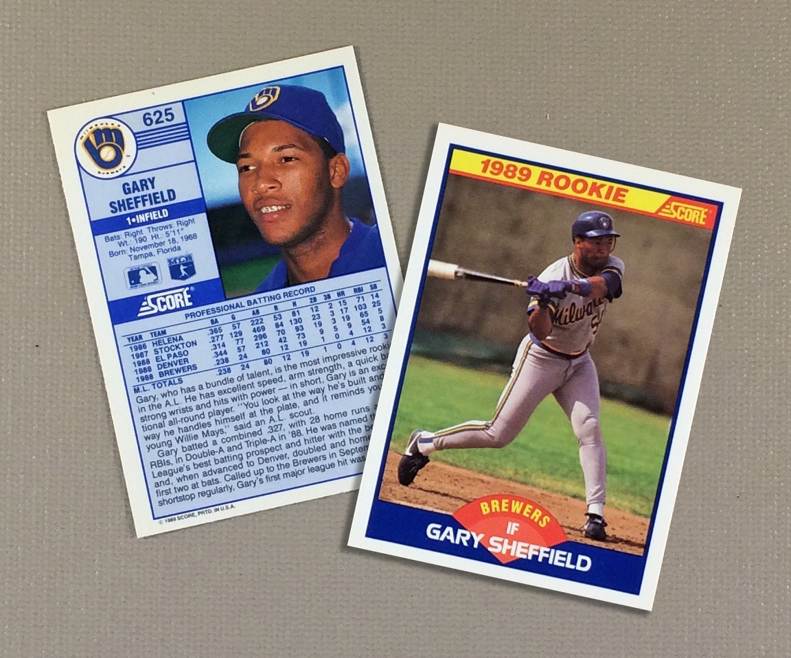 1989 Milwaukee Brewers Gary Sheffield Rookie Card Score