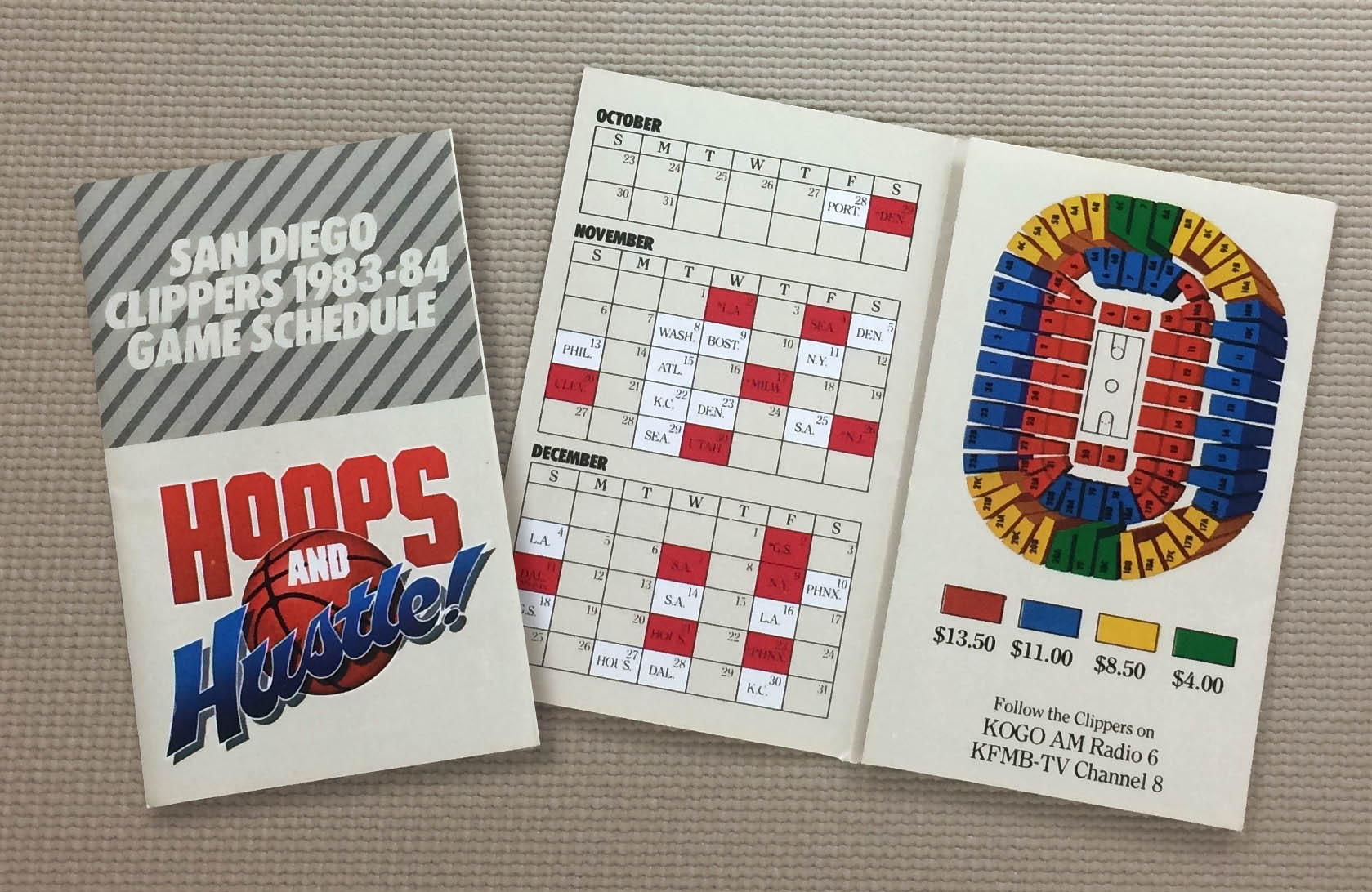 San Diego Clippers 1983-84 Schedule