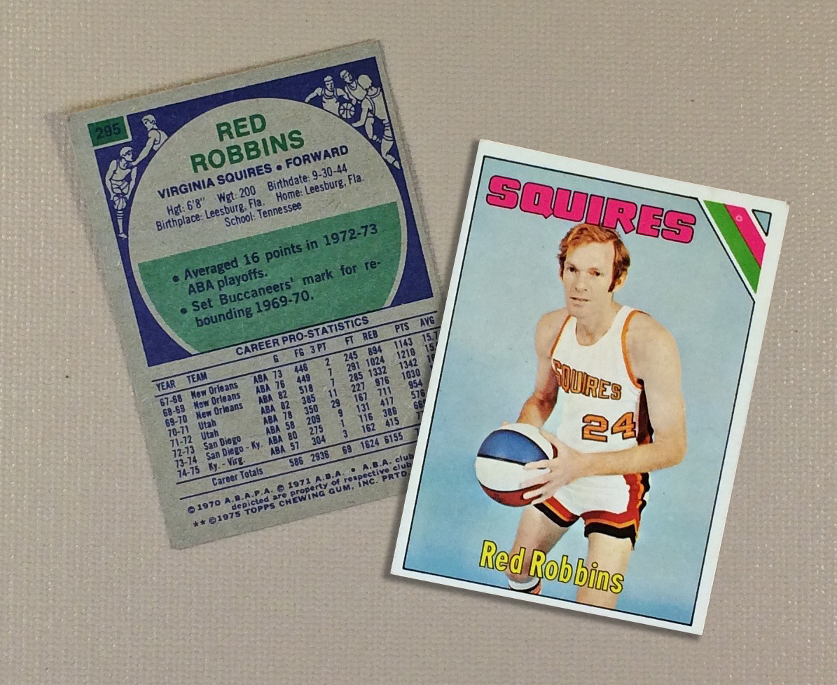 1975 Virginia Squires Red Robbins Collectors Card