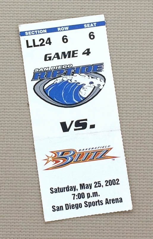 San Diego Riptide Ticket