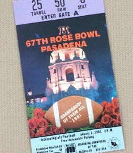 Rose Bowl 1981 Ticket Stub