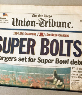 San Diego Chargers 1994 AFC Champs Newspaper