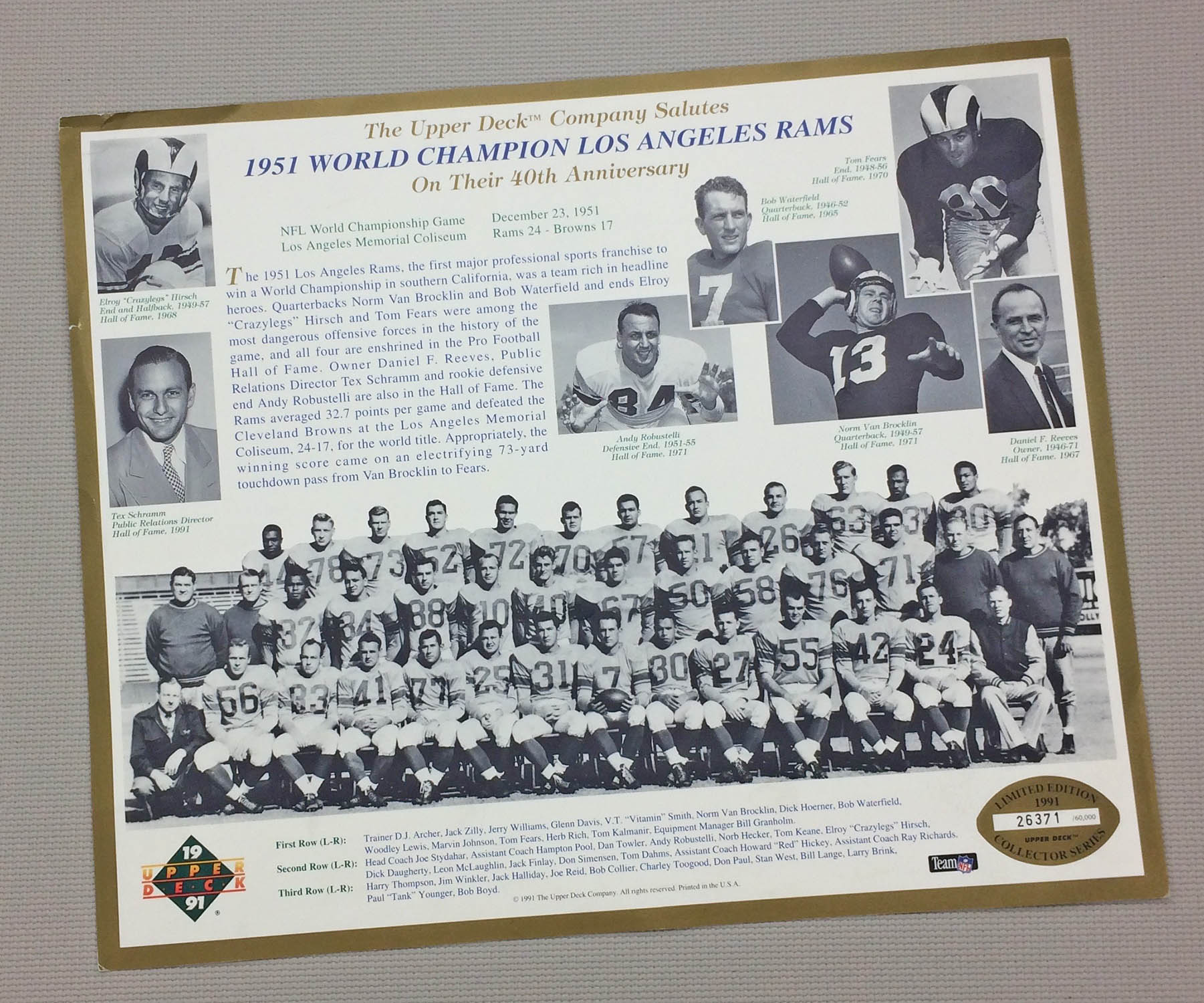 Los Angeles Rams 1951 Team Photo