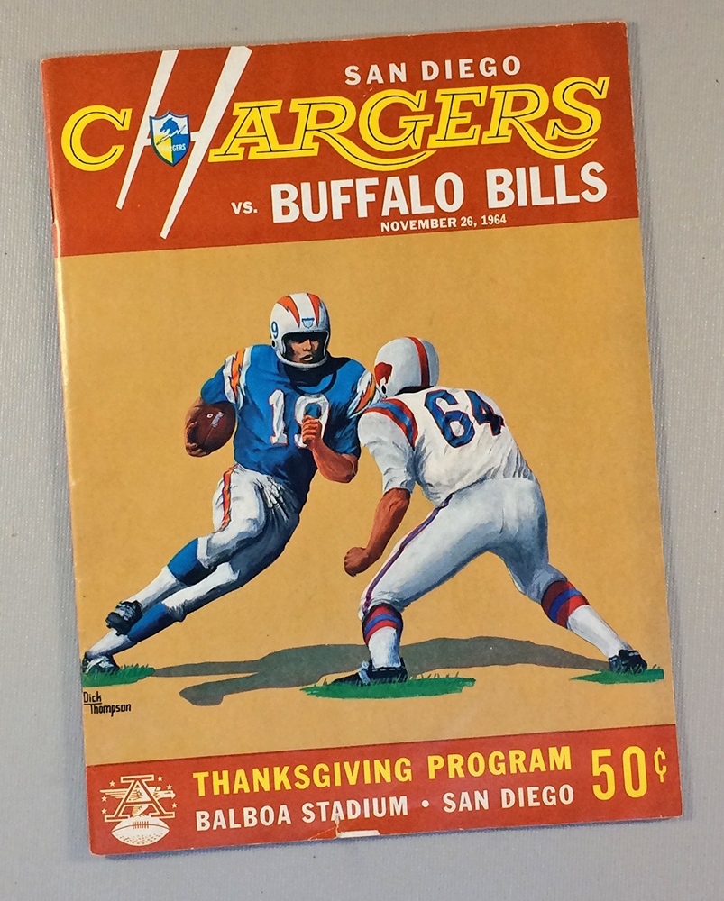 San Diego Chargers Home Games: San Diego Chargers 1964 Thanksgiving Day Game Program