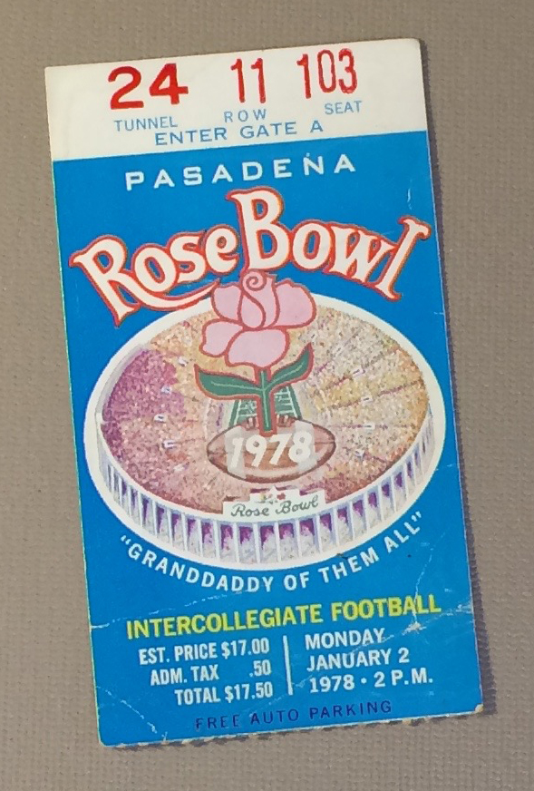 Rose Bowl 1978 ticket stub