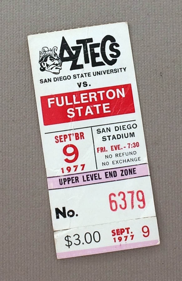SDSU vs Fullerton 1977 Ticket