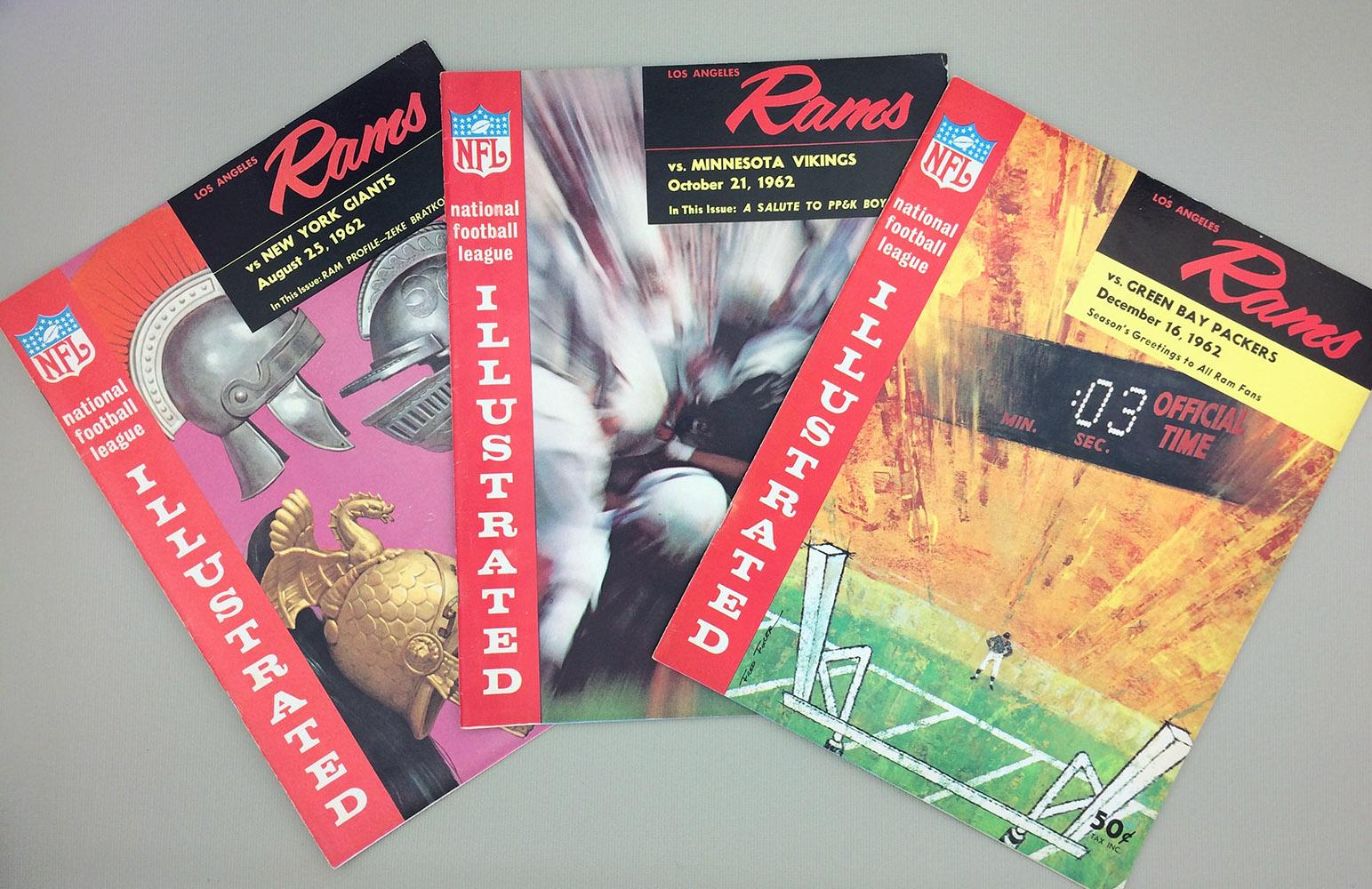 Los Angeles Rams 1962 Game Program 3-Pack