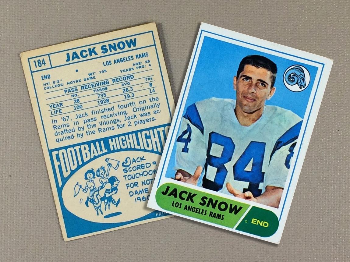 Los Angeles Rams 1968 Jack Snow Collectors Card