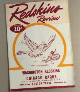 1945 Washington Football Team vs Chicago Cards Game Program