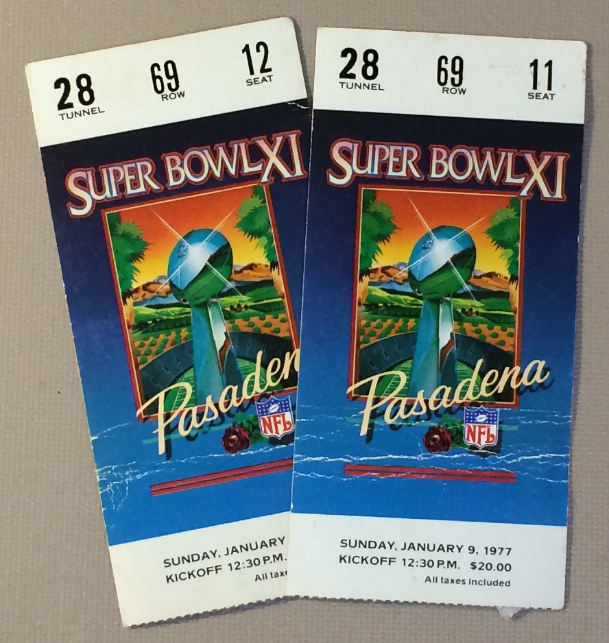 1977 Super Bowl XI Ticket Stubs