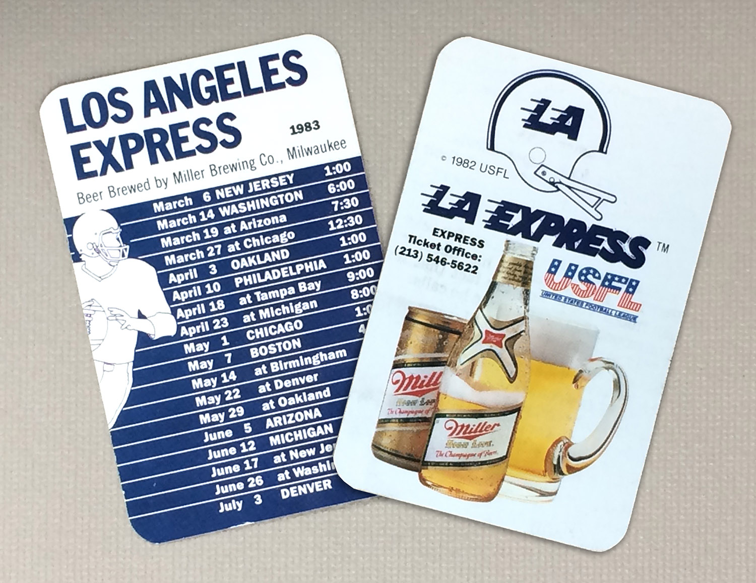 Los Angeles Express 1983 Schedule