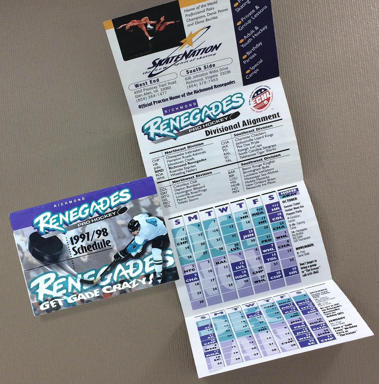Richmond Renegades 1997-98 Schedule