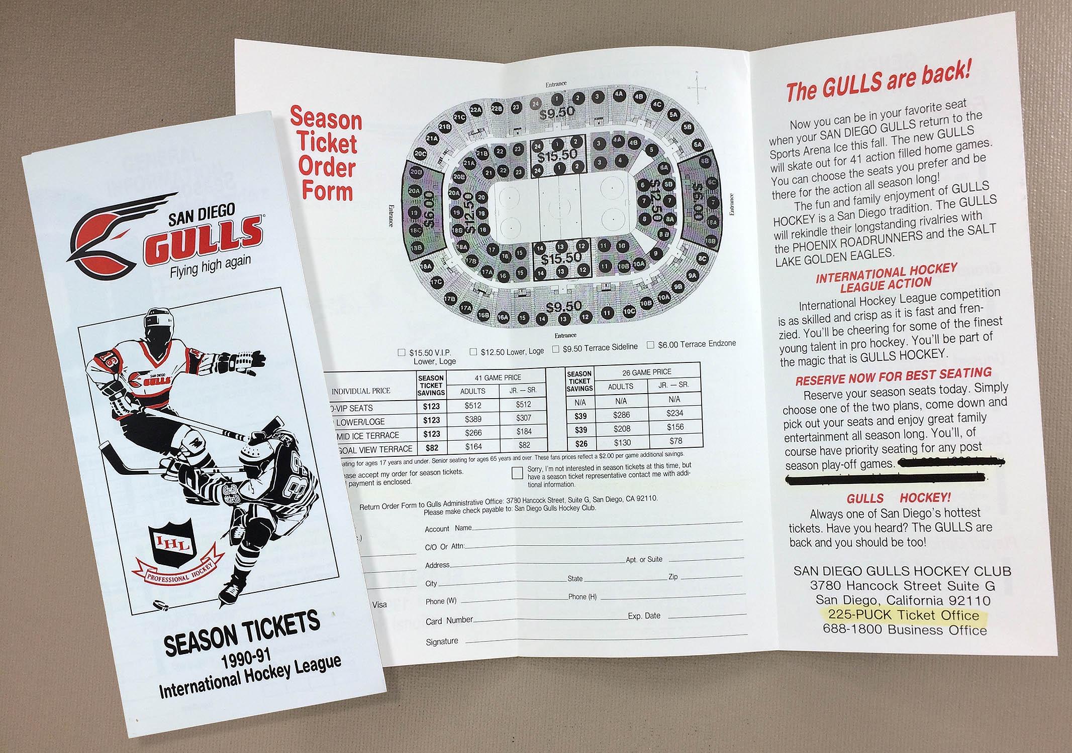 1990-91 San Diego Gulls Ticket Brochure