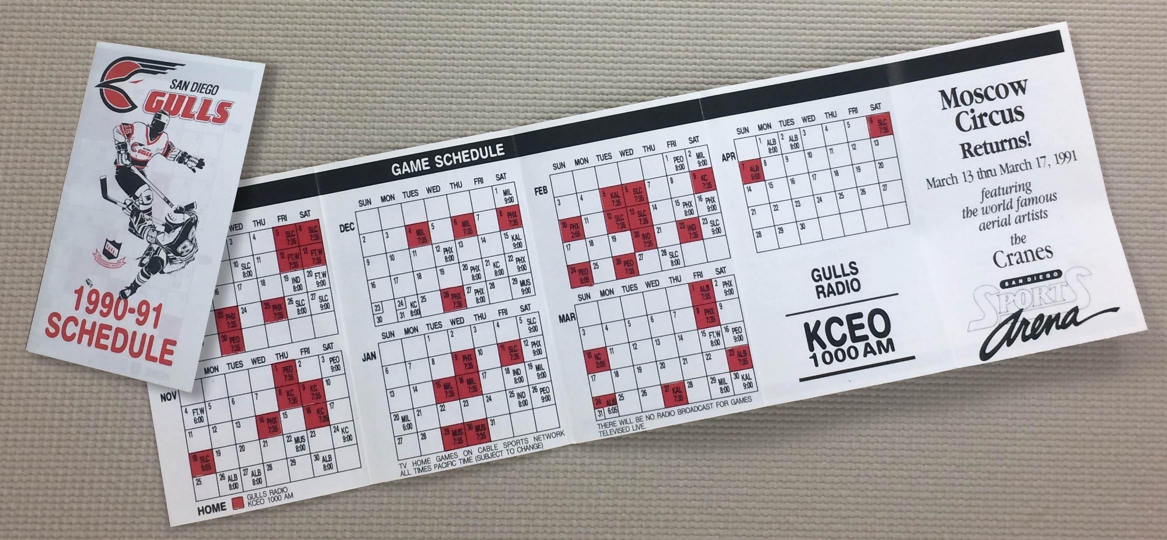 San Diego Gulls 1990-91 Schedule