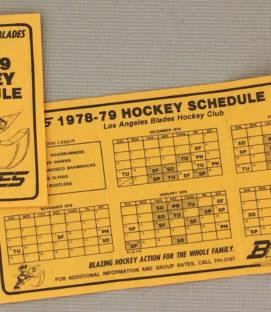 Los Angeles Blades 1978-79 Schedule