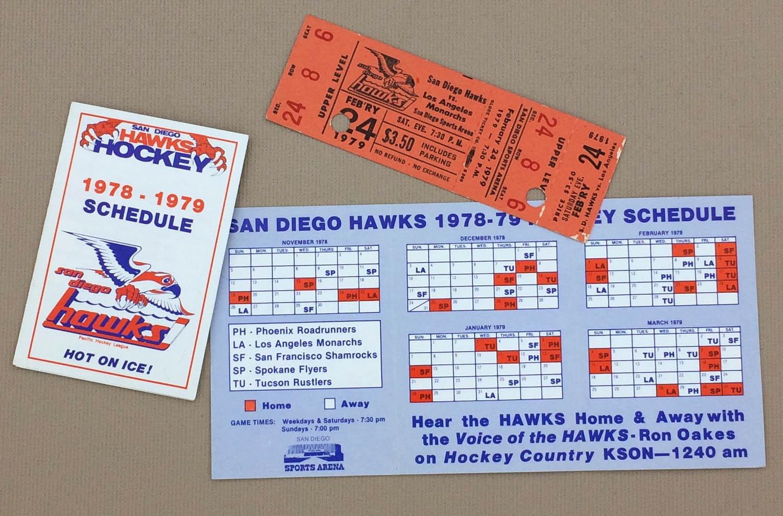 San Diego Hawks 1978-79 Schedule and Ticket