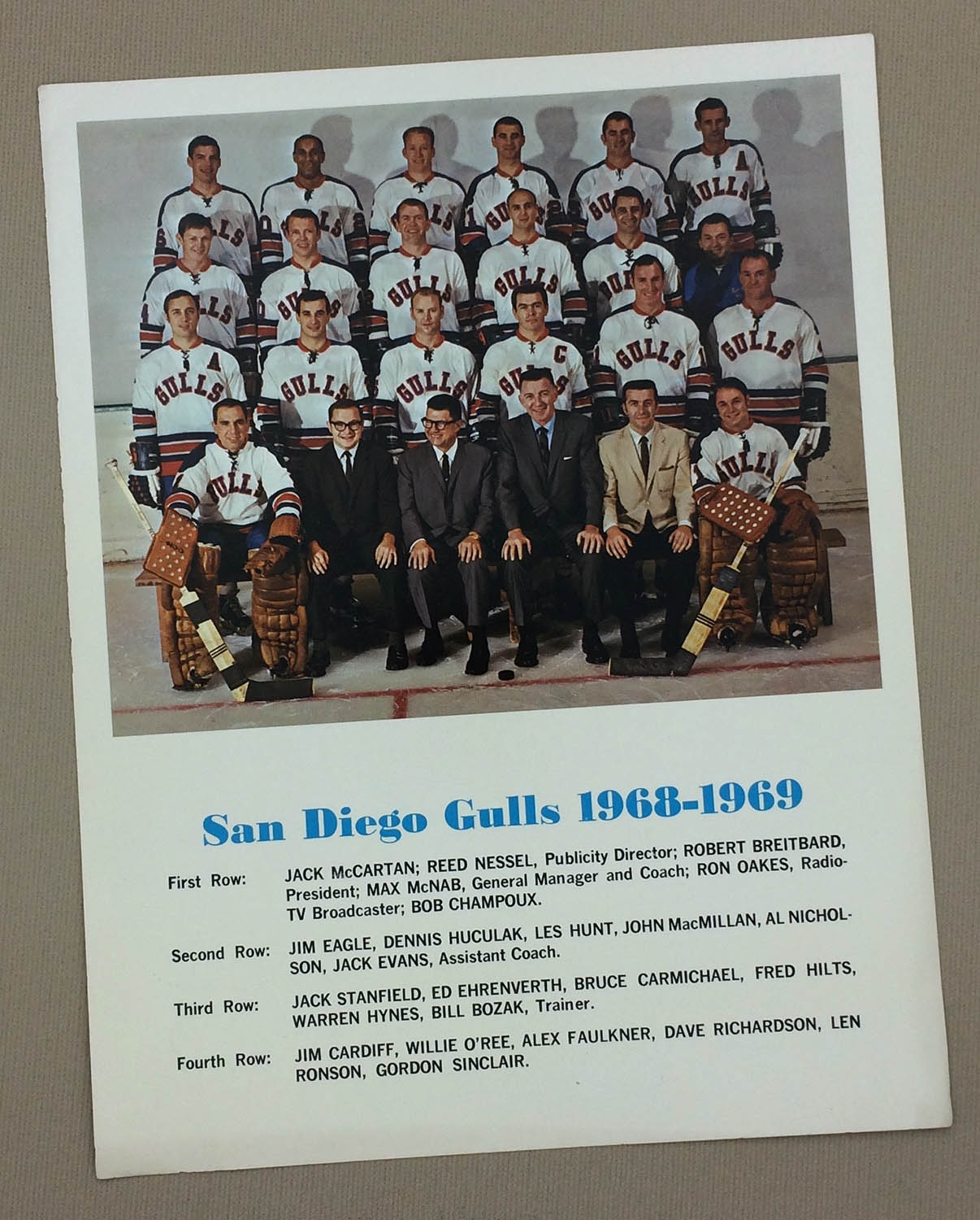 San Diego Gulls 1968-69 Team Photo