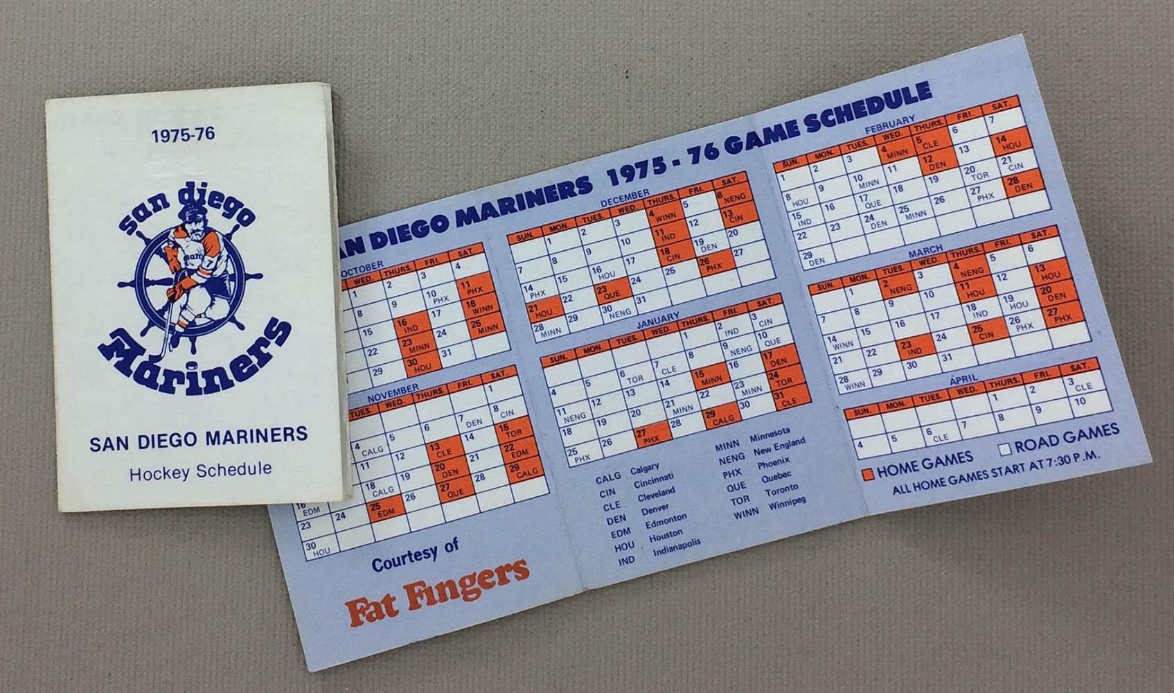 San Diego Mariners 1975-76 Schedule