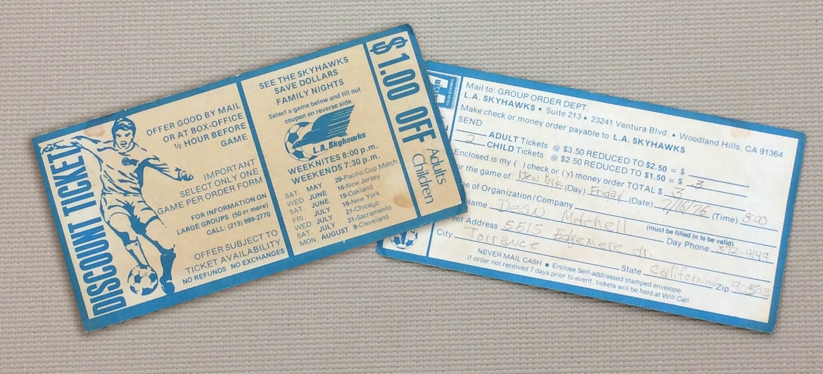 Los Angeles Skyhawks Ticket