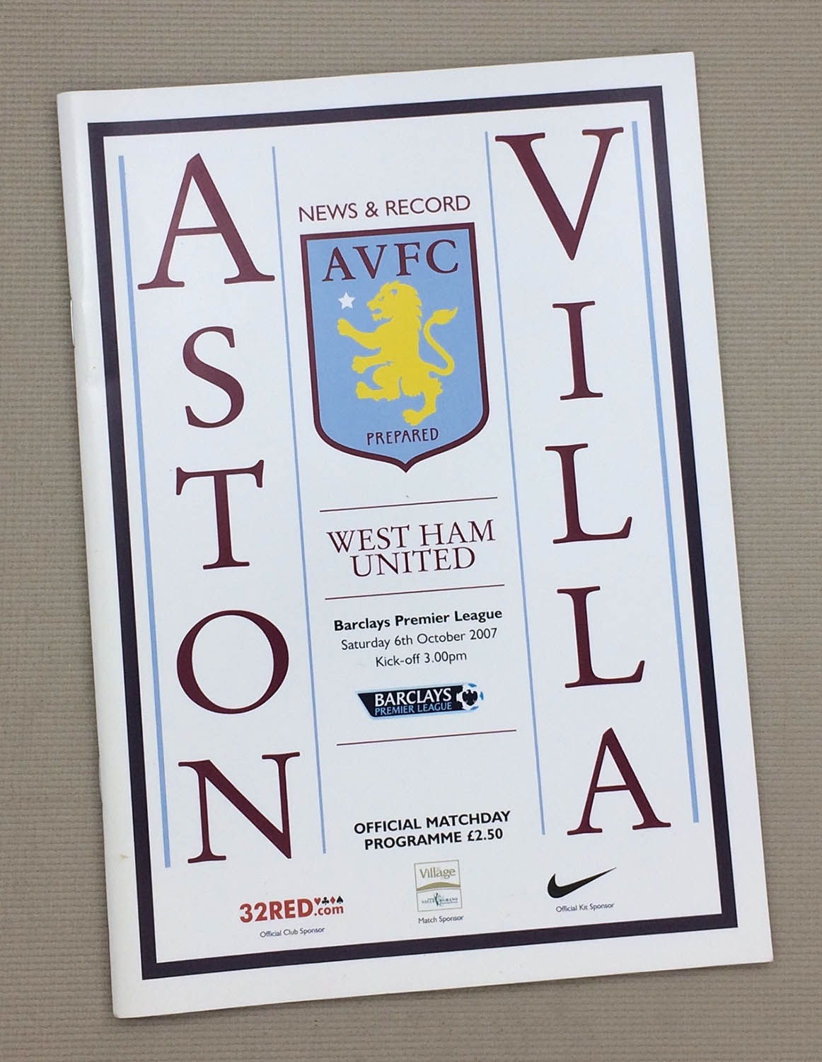 Aston Villa West Ham 2007 Program