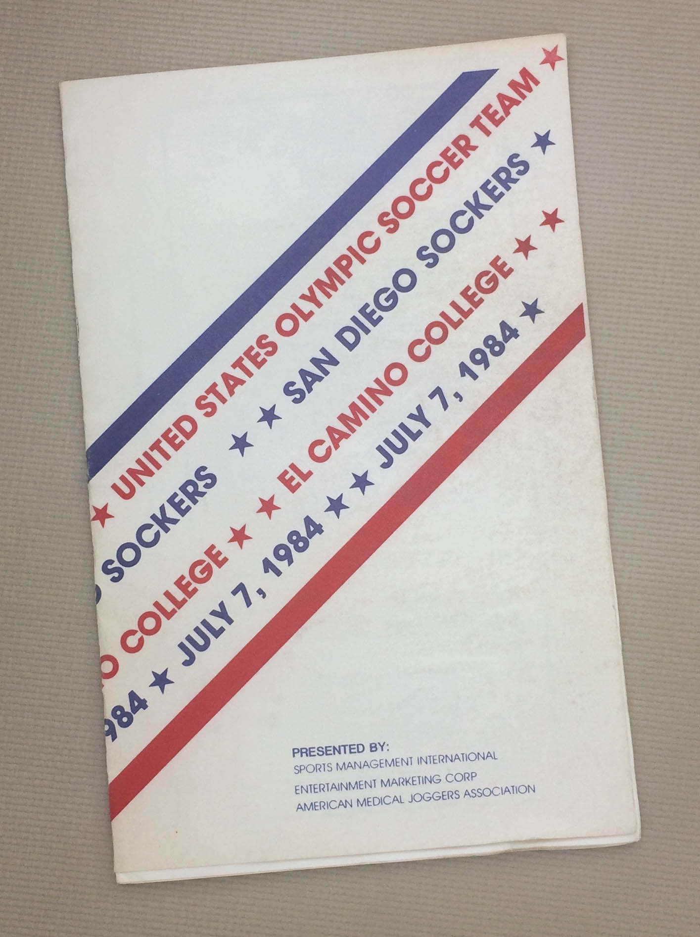 Sockers US Olympic Team 1984 Program