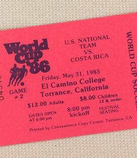 USA vs Costa Rica World Cup '86 Qualifier Ticket