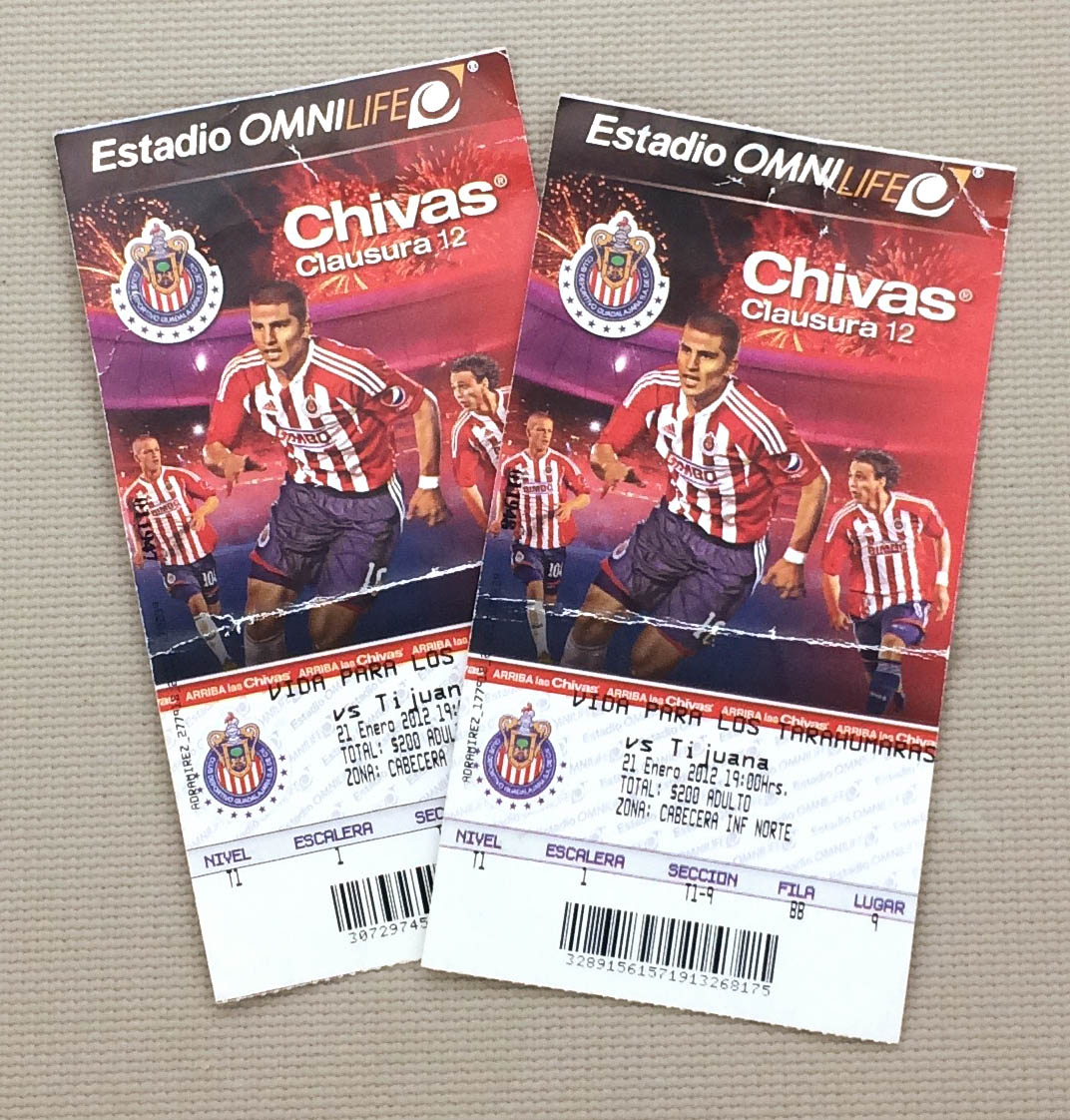 Chivas Xolos 2012 Ticket Stubs